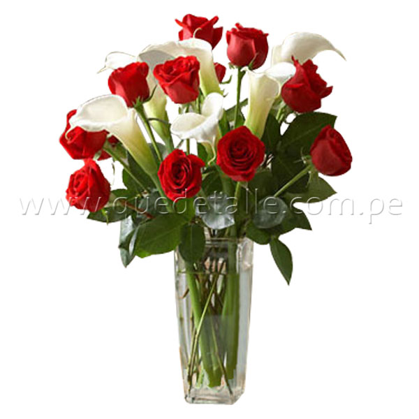 Red and White Roses Calla Lilies Bouquet